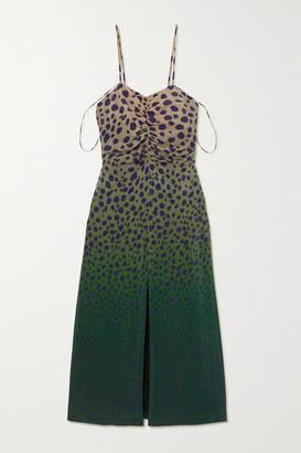 House of Holland Ruched Cheetah-print Silk Midi Dress - Brown