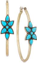 Lucky Brand Gold-Tone Blue Stone Flower Hoop Earrings