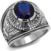 Bellux Military Navy Ring 5 Carats CZ Stainless Steel