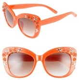 Leith Women's 58Mm Floral & Leaf Embellished Cat Eye Sunglasses - Peach/ Gold