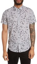 Theory Men's Zack S Leaflet Trim Fit Print Sport Shirt