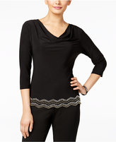 MSK Chevron Beaded Cowl-Neck Top