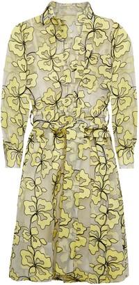 Maje Belted Embroidered Organza Mini Shirt Dress