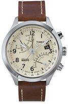Timex Intelligent Quartz® Men's Fly-Back Chronograph Watch in Stainless Steel w/Brown Strap