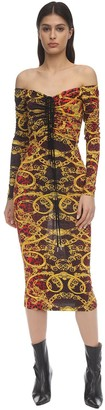 Versace Leopard Print Draped Jersey Midi Dress