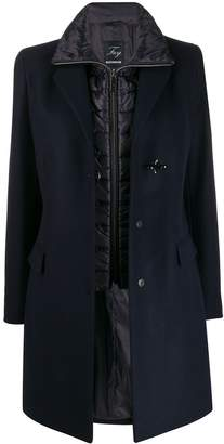 Fay layered single-breasted coat