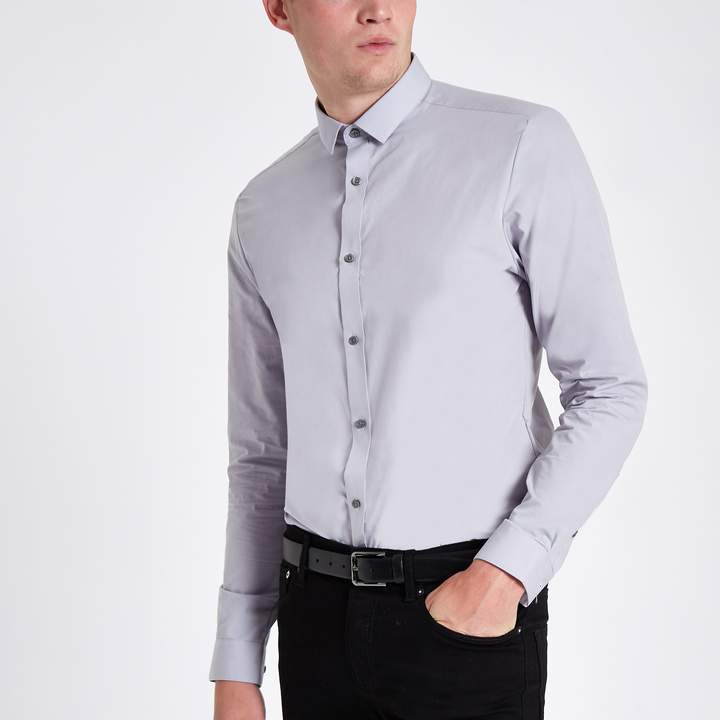 River Island Light Grey button-down long sleeve shirt