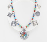 American West Sterling Charm & Gemstone Bead Treasure Necklace