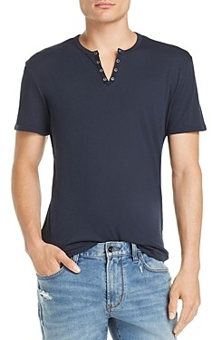 John Varvatos Eyelet Split Neck Tee