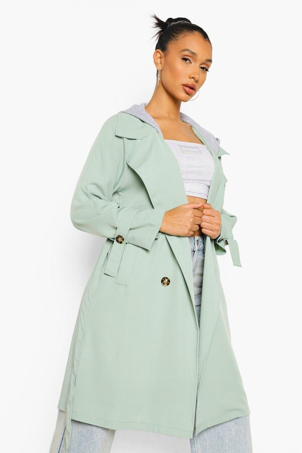 Thumbnail for your product : boohoo Hooded Woven Trench Coat
