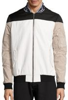 Les Benjamins Leather Collar Bomber Jacket