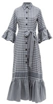 Evi Grintela Valerie Ruffled Checked Cotton-blend Shirtdress - Womens - Blue White