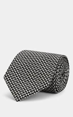 Brioni Men's Geometric-Pattern Silk Jacquard Necktie - Black