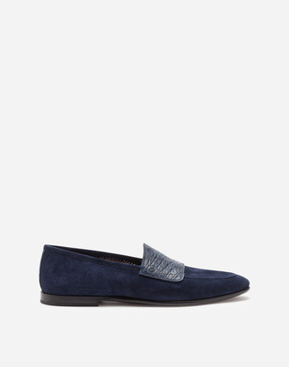 Dolce & Gabbana Perforated Suede Slippers With Crocodile Band