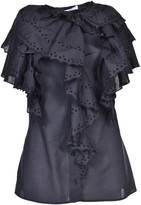 Givenchy Broderie Anglaise Trim Ruffle Blouse