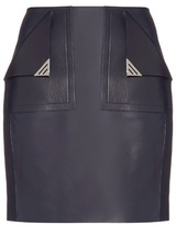 Thierry Mugler Front-pocket leather mini skirt