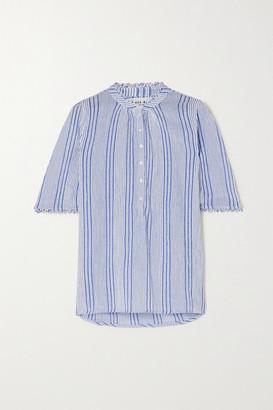 Apiece Apart Alta Striped Crinkled Cotton-gauze Shirt
