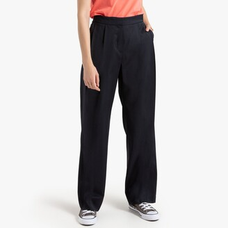 """La Redoute Collections Wide Leg Wool Mix Trousers with Pleats, Length 32"""""""