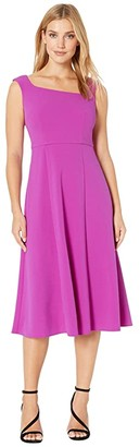 Donna Morgan Stretch Crepe Sleeveless Asymmetric Neckline Fit and Flare Dress (Red) Women's Dress