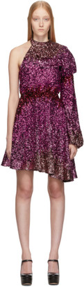 Halpern Pink Degrade Sequin Single-Shoulder Dress