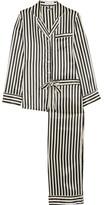 Olivia von Halle - Lila Striped Silk-satin Pajama Set - Black