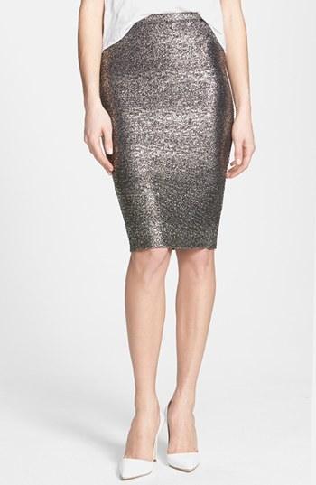 June & Hudson Metallic Pencil Skirt