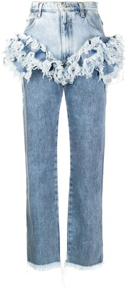 Natasha Zinko High-Rise Frilled-Trim Jeans