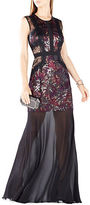 BCBGMAXAZRIA Embroidered Sequined Gown