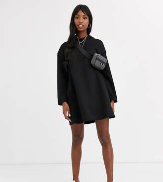 Asos Tall DESIGN Tall hoodie swing dress with concealed pockets-Black