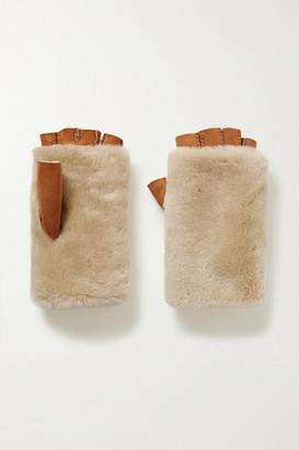 Agnelle Bella Shearling Fingerless Gloves - Light brown