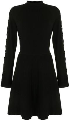 Lela Rose Lattice-Sleeve Knitted Dress