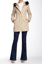 Ellen Tracy Novelty Wool Blend Snap Front Genuine Blue Fox Fur Hood Coat