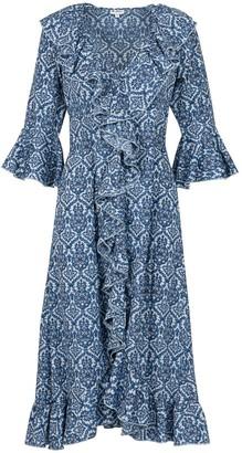 Felicity Dress- Blue & White Tile