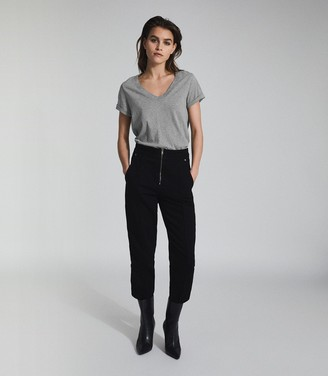 Reiss LUANA COTTON-JERSEY V-NECK T-SHIRT Grey Marl