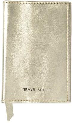 Travel Addict Gold Leather Passport Cover