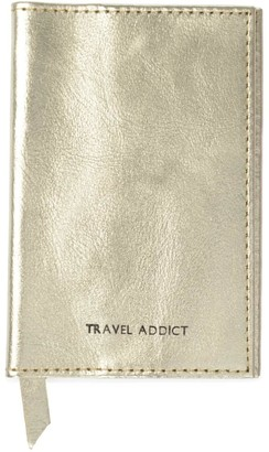 Vida Vida Travel Addict Gold Leather Passport Cover