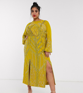 Asos DESIGN Curve blouson linear embellished midi dress