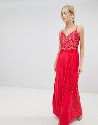 Little Mistress pleat skirt maxi dress-Red