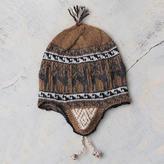 Grey and Brown Alpaca Blend Chullo Hat, 'Llama Shadow'