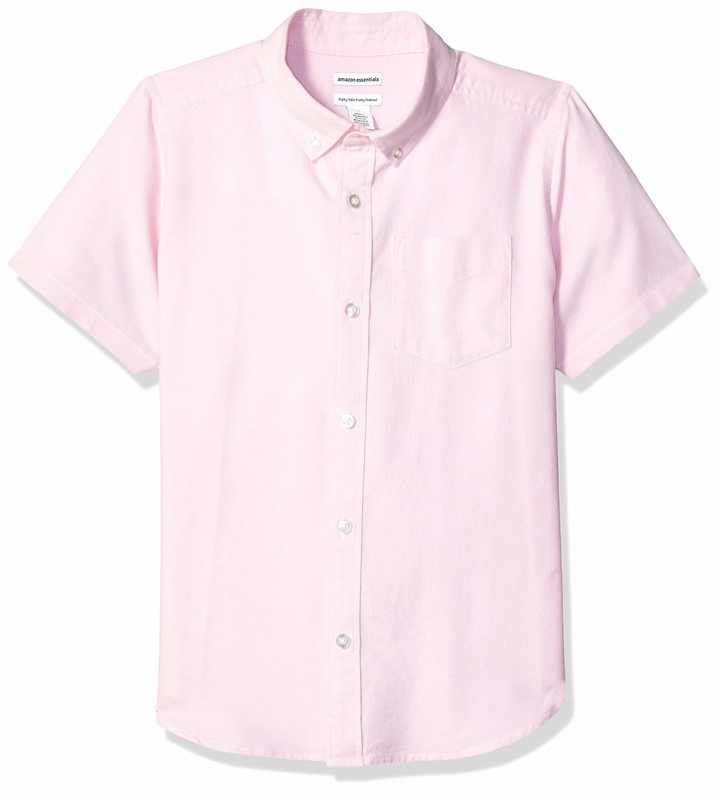 Amazon Essentials Husky Short-sleeve Oxford Shirt Button Pink L(H)