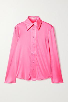 Meryll Rogge Neon Satin-jersey Shirt - Bright pink