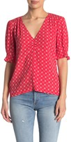 Elodie K V-Neck Ruched Elbow Sleeve Blouse