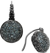 Stephen Dweck Ruthenium Plated Sterling Silver and Pave London Blue Topaz Metropolis Drop Earrings