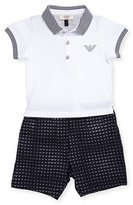 Armani Junior Short-Sleeve Polo Shirt w/ Printed Shorts, Blue, Size 6-24 Months
