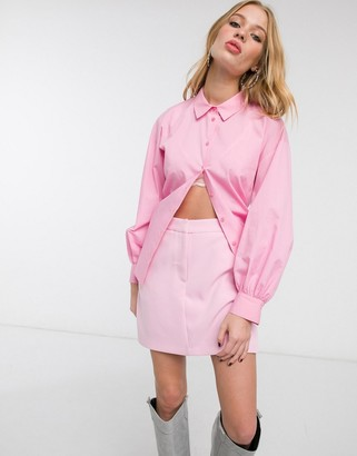 Topshop poplin ruched back blouse in pink