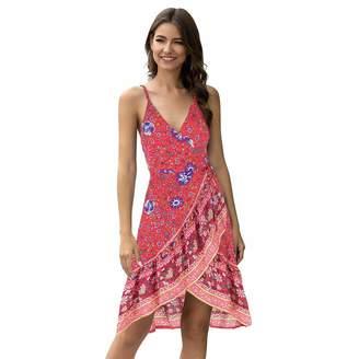 Moyabo Womes Sexy V Neck Spaghetti Strap Bohemian Floral Print Swing A Line Beach Mini Dress Red Medium