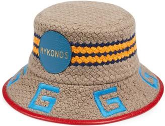Gucci Mykonos striped fabric fedora