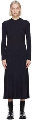 Max Mara Navy Nausica Mid-Length Dress
