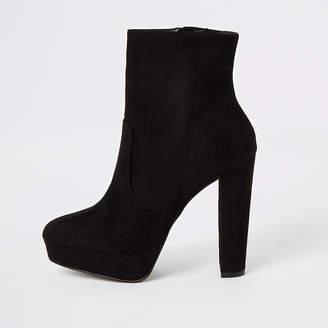 River Island Black faux suede platform heeled boots