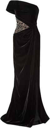 Marchesa One-shoulder Embellished Tulle-paneled Velvet Gown